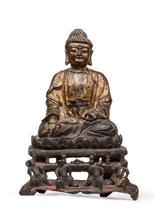 明或明之前 銅漆金釋迦牟尼坐像