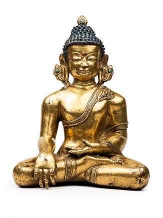 13-14世紀 銅鎏金釋迦牟尼坐像