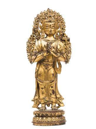 15-16世紀 銅鎏金文殊菩薩立像