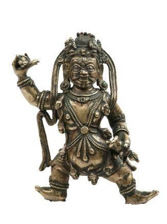 14世紀 合金銅錯銀紅銅金剛手菩薩立像