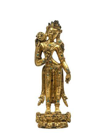 14世紀 銅鎏金蓮花手菩薩立像