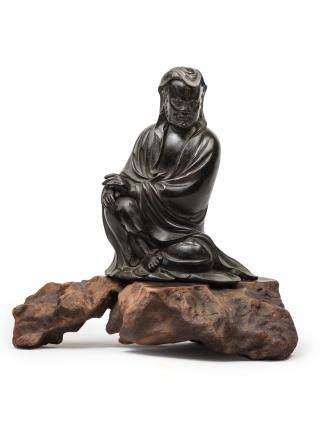 明 銅達摩坐像