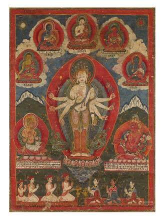 15世紀 紐瓦爾風格八臂觀音唐卡