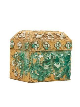 唐 金炸珠鑲綠松石盒