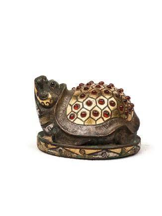 戰國-秦漢 青銅錯金銀鑲琉璃龜鎮(部分琉璃珠後鑲)