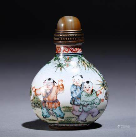 CHINESE ENAMELS ON BRONZE SNUFF BOTTLE