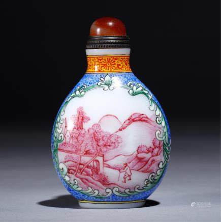 CHINESE ENAMELS ON PEKING GLASS SNUFF BOTTLE