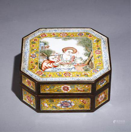 CHINESE BRONZE ENAMEL BOX