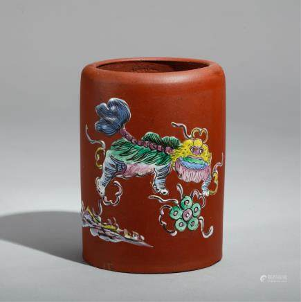 CHINESE YIXING ZISHA BRUSH POT