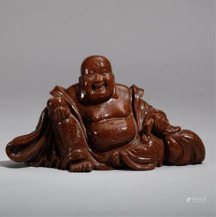CHINESE GOLDSTONE CARVED HOTEI