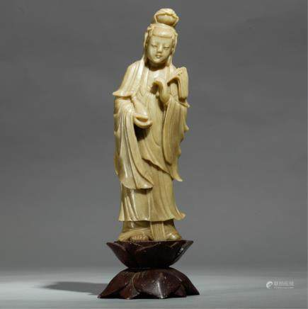 CHINESE STONE CARVED STANDING GUANYIN