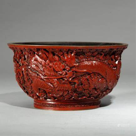 CHINESE CINNABAR BOWL WITH QIANLONG MARK