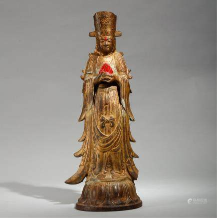 CHINESE GOLD PAINTED BRONZE GUANYIN