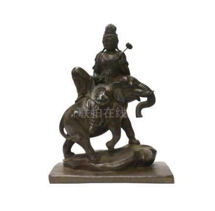 Chinese Handmade Brown Bronze Kwan Yin Riding Elephant Statu