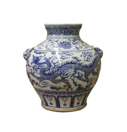 Chinese Blue White Porcelain Scenery Dragon Foo Dog Accent V