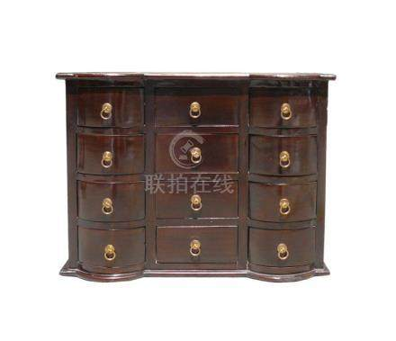 Chinese Brown 12 Drawers Chest of Drawers Cabinet
