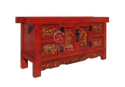 Chinese Carving Panel Rustic Red Low TV Console Cabinet