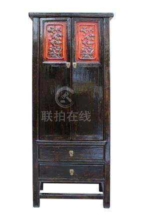 Chinese Distressed Black Red Floral Motif Tall Slim Storage