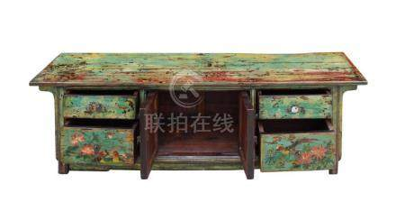 Chinese Distressed Blue Green Flower Graphic Low TV Console