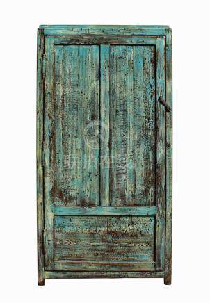 Chinese Distressed Blue Green Tall Iron Lock Armoire Wardrob