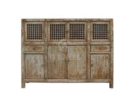 Chinese Distressed Brown Blue Motif Highboard Credenza Table