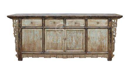 Chinese Distressed Brown Blue Motif Sideboard Console Table