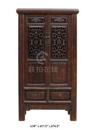 Chinese Distressed Brown Floral Motif Open Panel Storage Cab