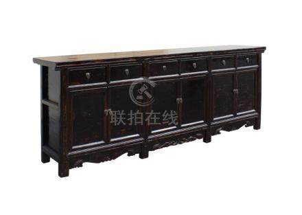 Chinese Distressed Brown Long Sideboard Console Table Cabine