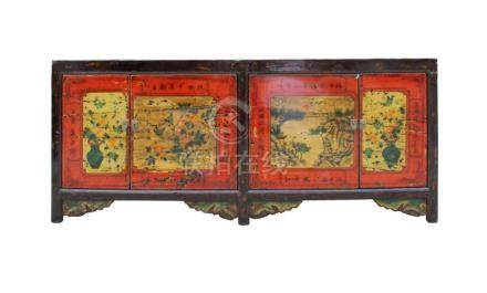 Chinese Distressed Brown Red Doors Long Sideboard Console Ta