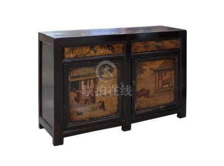 Chinese Distressed Brown Scenery Graphic Sideboard Console T