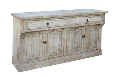 Chinese Distressed Finish High Credenza Console Buffet Table