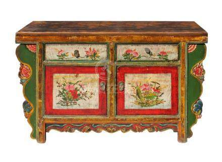 Chinese Distressed Green Red Floral Sideboard Console Table