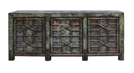 Chinese Distressed Greenish Blue Sideboard Console Table Cab