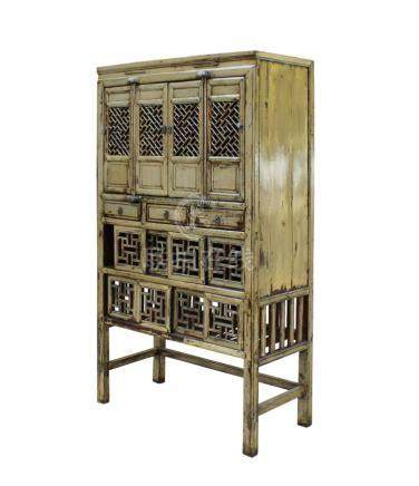 Chinese Distressed Light Green Lacquer Storage Open Panel Do