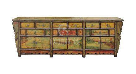 Chinese Distressed Light Green Yellow Long Sideboard Console