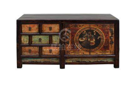 Chinese Distressed Orange Light Green Flower Sideboard Table