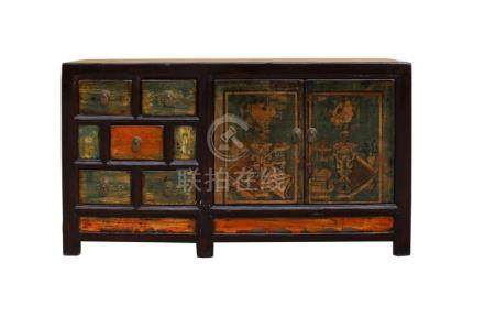 Chinese Distressed Orange Light Green Vase Flower Sideboard