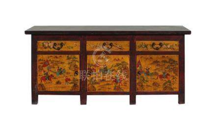 Chinese Distressed Yellow Red People Graphic Sideboard Conso