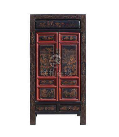 Chinese Fujian Black Red Golden Graphic Armoire Storage Cabi