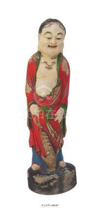 Hand Carved Camphor Wood Standing Treasure God Statue