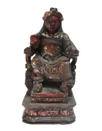 Vintage Wooden Carved Home Guardian God Heaven Soldier Figur