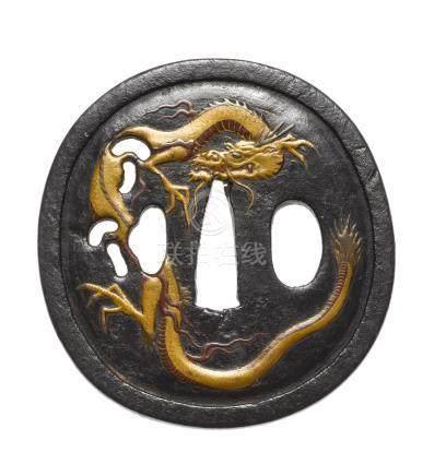 An iron tsuba Hizen, 17th century