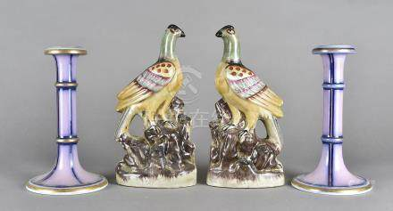 A pair of 19th Century Staffordshire candlesticks, mauve and gilt, one af, 21 cm high together