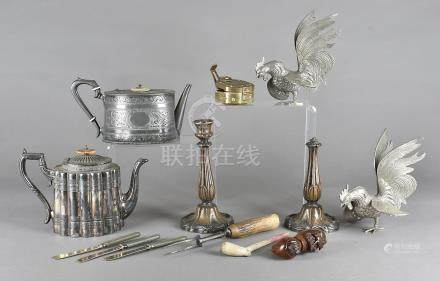 A small collection of pewter, hotel plate, smoking pipes and other items