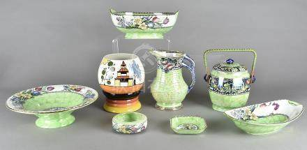 A collection of Maling lustre ware, decorated with various transfer printed patterns of flowers,