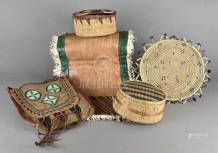 A collection of mid Century African, mostly Nigerian leather, and straw and rattan work