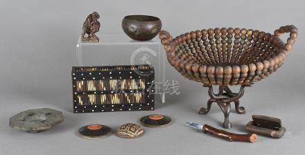 A beadwork bowl, a quill box and other items