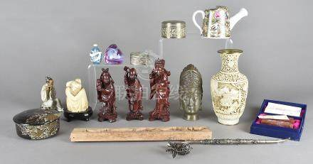A collection of Chinese and oriental items, including porcelain and white metal bowls, scent
