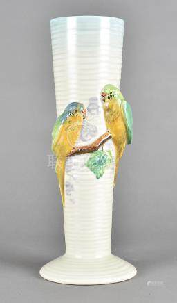 A Clarice Cliff Newport pottery tapering vase, with budgies, 32 cm high