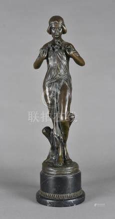 A bronze art nouveau style figurine, by Pitta Luga, on hardwood base, modelled as femme fatale, 53